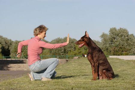 waiting posture: Woman sad set to her dog