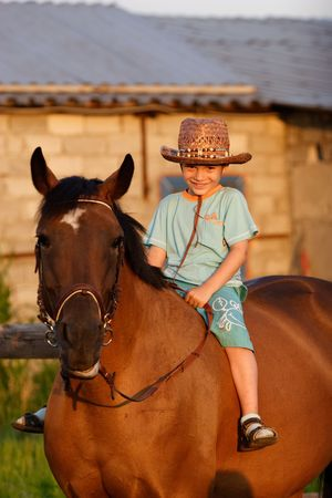 5 year old: 5 year old child sittin on big brown horse Stock Photo