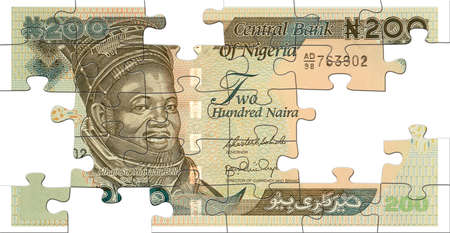Two hundred naira banknote puzzled on wight photo