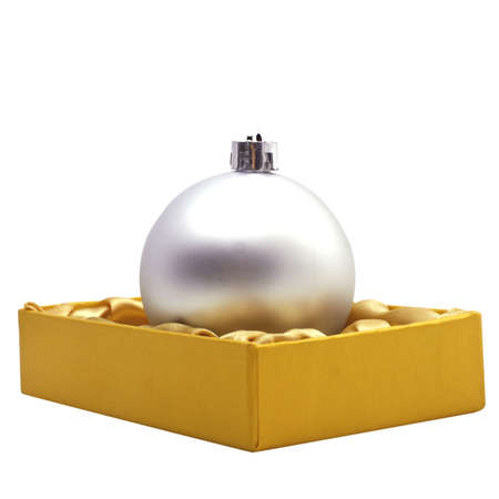 christmas bauble Decoration in the box isolated on white photo