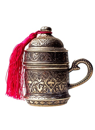 coffee pot: turkish metall coffee cup isolated