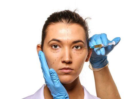 Survey before plastic surgery  Isolated on white  Stock Photo - 17762590