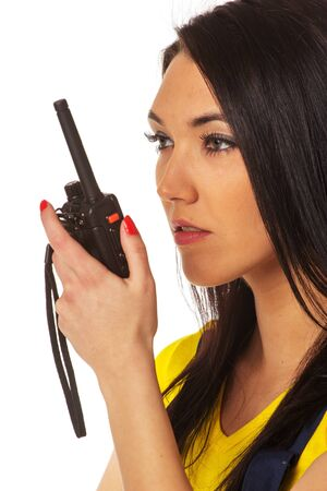 Woman with walkie-talky Banque d'images