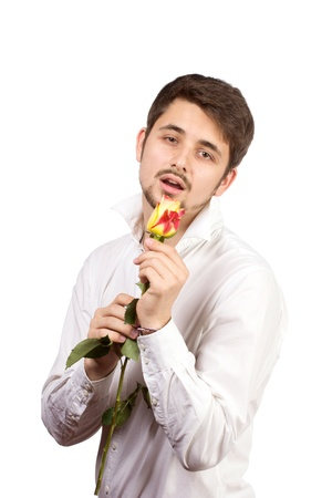 celebration smiley: man with rose, isolated on white background.