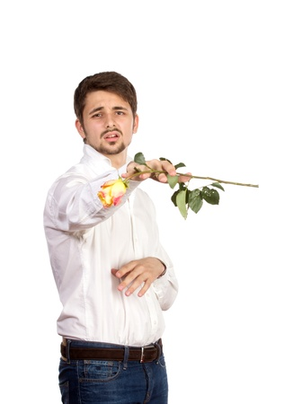 suprise: man with rose, isolated on white background.