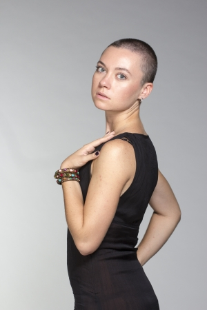 exotic woman with short hair, beauty style portrait photo