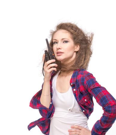 cb: Woman with cb radio, isolated Stock Photo