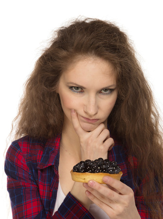 stile: Country stile woman with cake, isolated