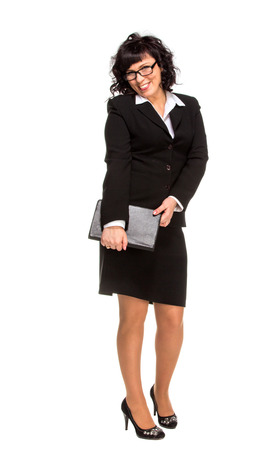 Cheerful senior business woman with Tablet computer, isolated on white