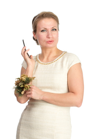 xmass: Woman in white dress with mobile, isolated