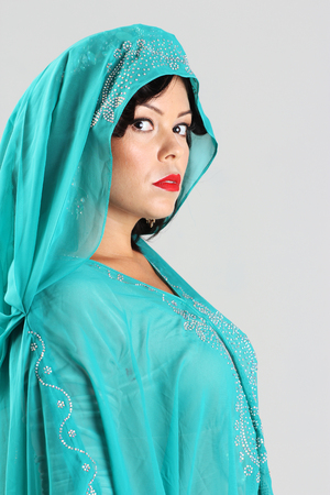 arabian harem: Adult arabian woman in green abaya