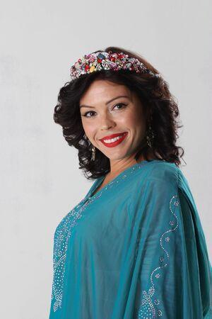 yashmak: Adult arabian woman in blue abaya