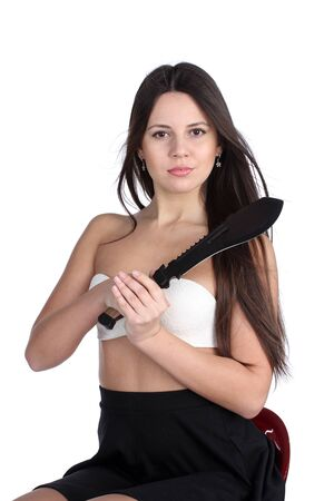 machete: Pretty young woman with big machete knife, isolated