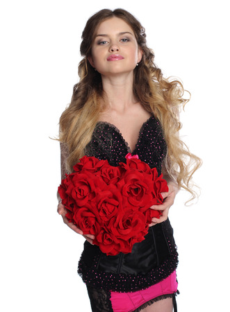 Pretty woman hold big flower heart. Isolated on white. Stock Photo
