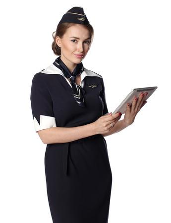 air hostess: 31 juin 2015 dans la nouvelle hôtesse de l'air uniforme de la compagnie aérienne russe Aeroflot nationale, membre de SkyTeam