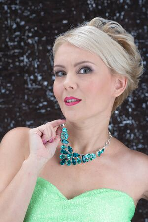 spinel: Closeup portrait of adult woman beautiful face with perfect makeup and necklace