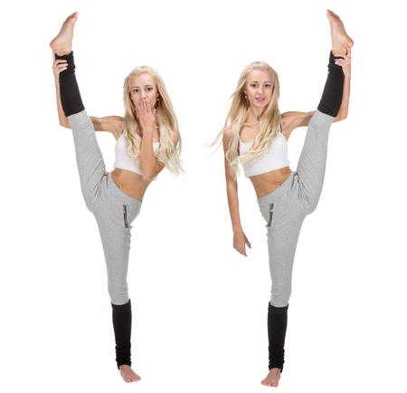 splits: Vertical splits. Set of Caucasian dancer girls, isolated