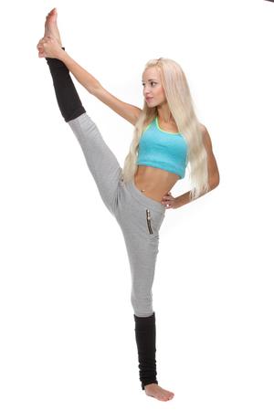 splits: Vertical splits. Caucasian dancer girls, isolated