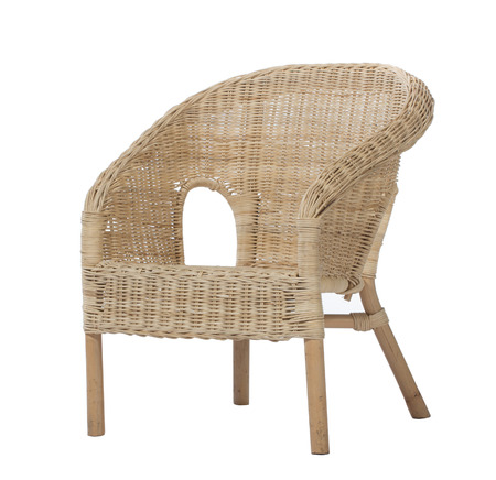 cane chair: Straw wicker chair. Isolated on white