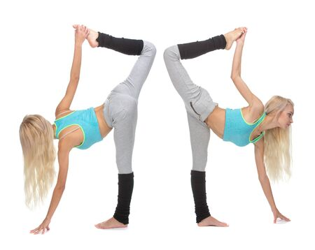 lean back: Lean forward, front and back view. Caucasian dancer girls, isolated Stock Photo