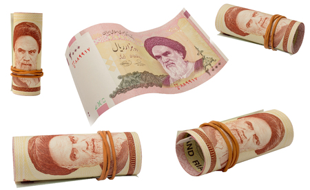 rubber ring: Set of rial banknotes with a rubber ring, isolated