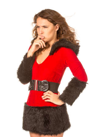 christmas costume: Sad woman dressed with Christmas costume, isolated over white