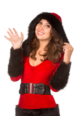 christmas costume: Beautiful young woman dressed with Christmas costume, isolated over white