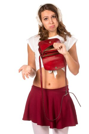 ransack: Beautiful woman looking through her pocket book purse, isolated Stock Photo