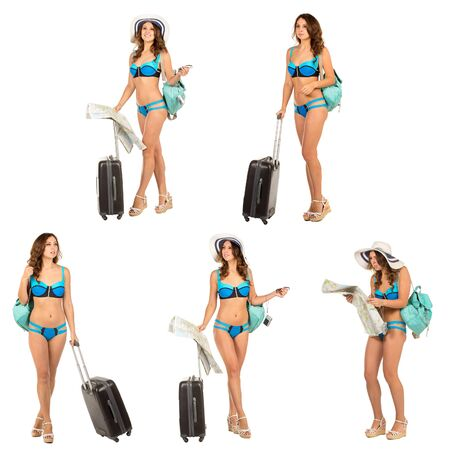Set of Studio image of charming young woman in a bikini dress with suitcase, hat, backpack, isolated on white.