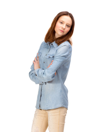 sexy young girl: Beauty red girl in jeans shirt, isolated on white Фото со стока