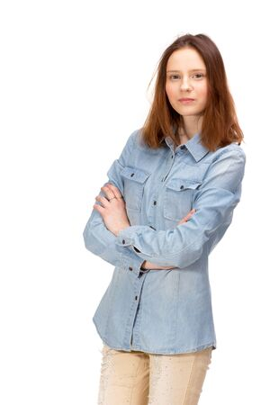 women body: Beauty red girl in jeans shirt, isolated on white Stock Photo