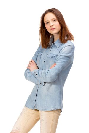 sexy young woman: Beauty red girl in jeans shirt, isolated on white Stock Photo