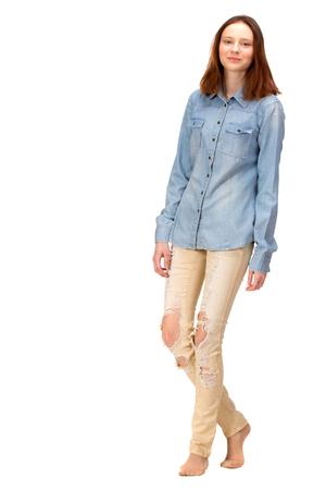 sexy young girl: Красота красная девушка в джинсах рубашке, изолированных на белом