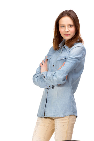sexy glamour model: Beauty red girl in jeans shirt, isolated on white Stock Photo