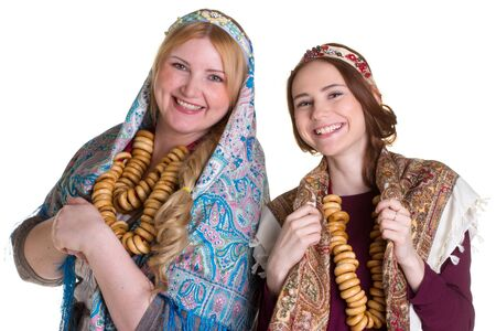 baranka: Russian women in national headscarves. Isolated on white