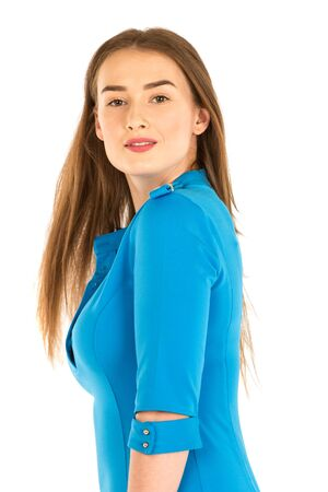 airline hostess: Air hostess in blue uniform. Isolated on white.