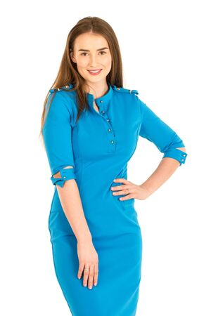 hostess: Air hostess in blue uniform. Isolated on white.