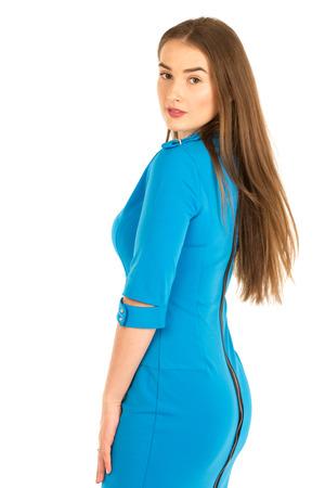 hotesse de l air: hôtesse de l'air en uniforme bleu. Isolé sur blanc.