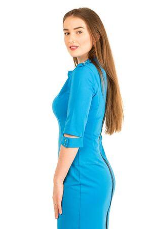 air hostess: Air hostess in blue uniform. Isolated on white.