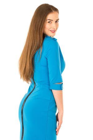 air hostess: hôtesse de l'air en uniforme bleu. Isolé sur blanc.