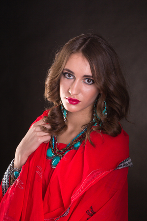 sari: Pretty woman wearing in red indian sari Stock Photo
