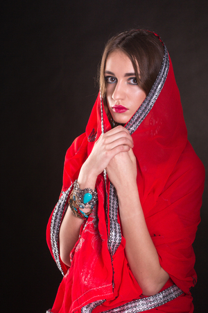 red indian: Pretty woman wearing in red indian sari Stock Photo