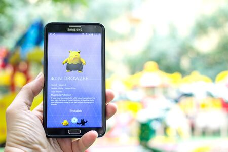 gameplay: AUG 03, 2016 MOSCOW, RUSSIA: Pokemon Go gameplay screenshot on the phone. Drowzee pokemon on mobile phone screen. Pokemon Go is a modern location-based augmented reality mobile game. Editorial