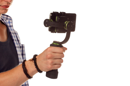 stabilizer: Innovative digital camera is a new generation with electronic stabilizer. Isolated on white.