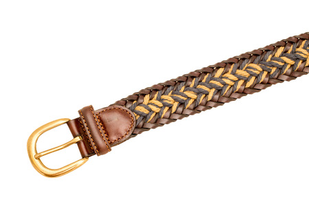 suede belt: Leather braided belt for men isolated on white background