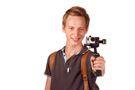 stabilization: Videographer holds mobile camera on gimbal. Isolated on white.
