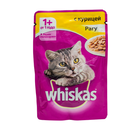 incorporated: OKT 19, 2016 PILOS, GREECE: Whiskas chicken ragout, pouches of cat food. Whiskas is a brand of cat food sold throughout the world, owned by the American group Mars, Incorporated