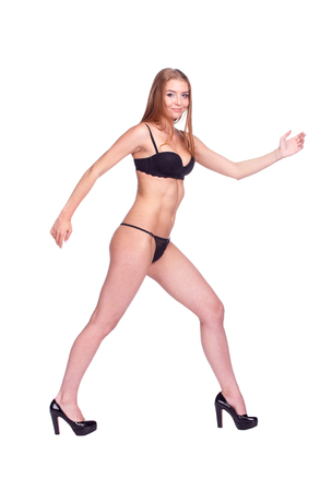 Woman Walking Side View, Sexy Girl in black Underwear, People isolated on White