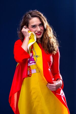 spaniard: Beautiful woman with Flag of Spain.