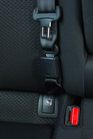 back seat: Safety buckle on the black back seat in a car